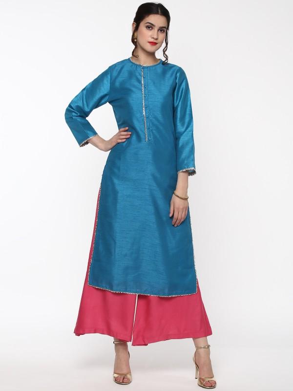 Sassafras Women's Solid Straight Kurta(Blue)