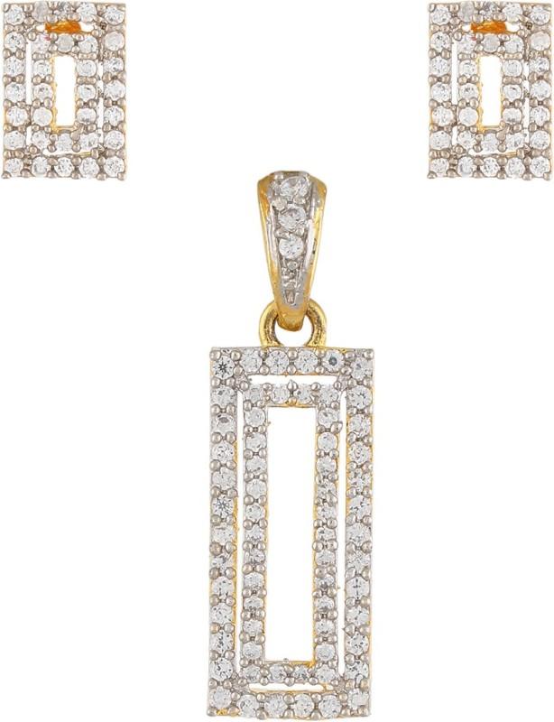 Vama Fashions Gold & Rhodium Plated Cubic Zirconia (CZ) Grant Diamond Finish Pendent Earring Jewellery Set + Free Chain - Online Shopping for Jewellery Rhodium Alloy Pendant Set