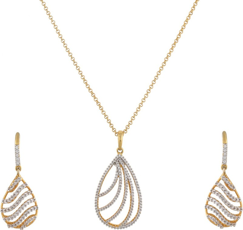 Vama Fashions 18 karat Gold & Rodium Plated with Swiss Cubic Zirconia (CZ) Micro Pave Setting Pendent Earring Jewellery Set with black hanging stone + Free Chain - online shopping for Jewellery. Rhodium Alloy Pendant Set