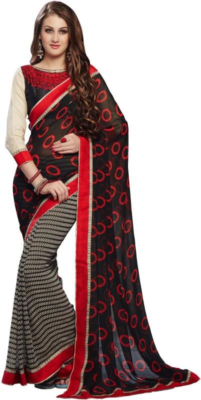 RadadiyaTRD Embroidered Bollywood Georgette Saree(Black)
