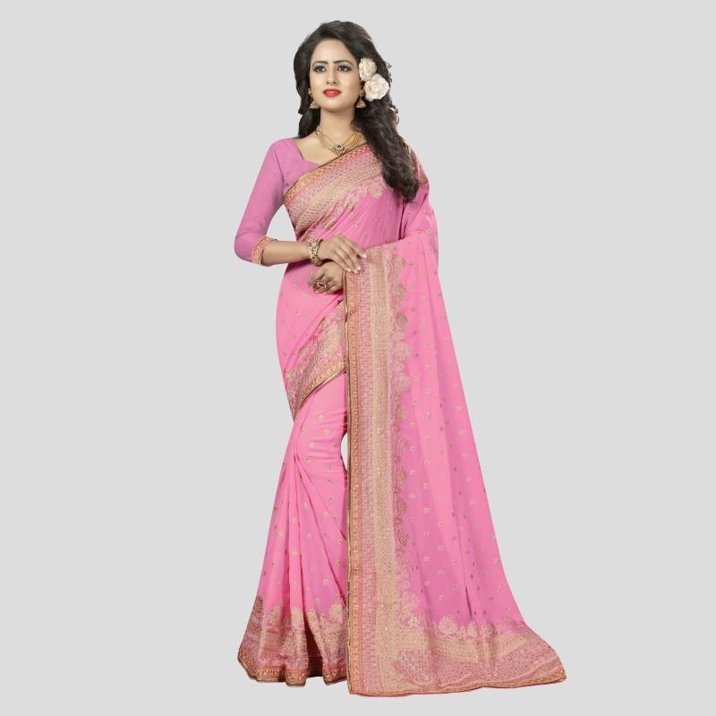Viva N Diva Embroidered Bollywood Georgette Saree(Pink)