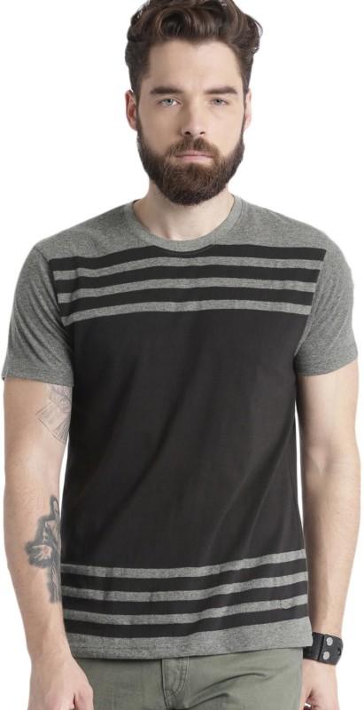 Roadster Striped Men Round Neck Black, Grey T-Shirt