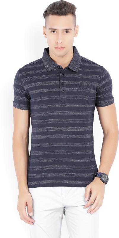 John Players Striped Mens Polo Neck Blue T-Shirt