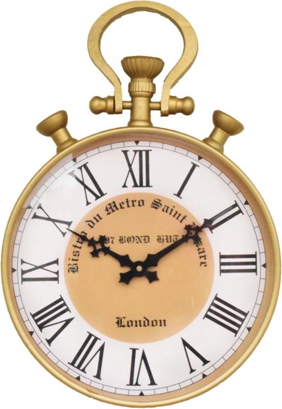 007 Bond Hut Analog Wall Clock(brass, Gold, With Glass)