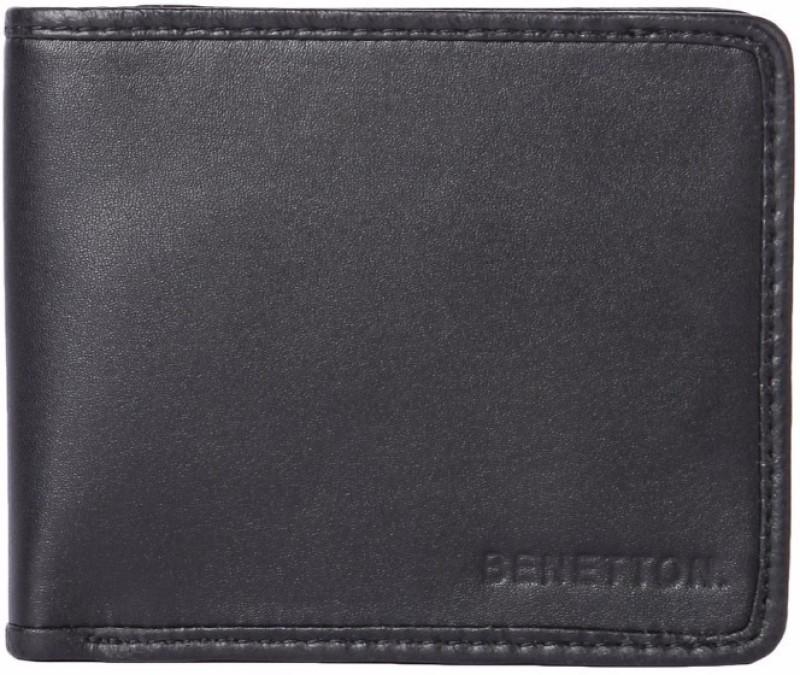United Colors of Benetton Men Black Genuine Leather Wallet(6 Card Slots)