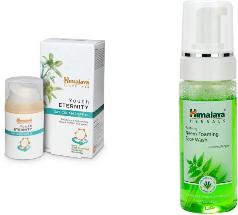Himalaya Youth Eternity Day Cream, Purifying Neem Foaming Face Wash(Set of 2)