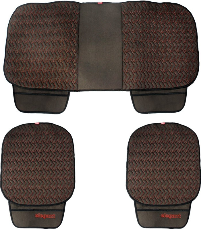 Elegant Cloth Seating Pad For Datsun Go(Front Seat, Rear Seat Black, Red)