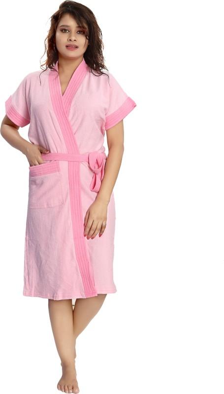 Shopping World Light pink, Pink Free Size Bath Robe(1 Bath Robe, For: Women, Light pink, Pink)