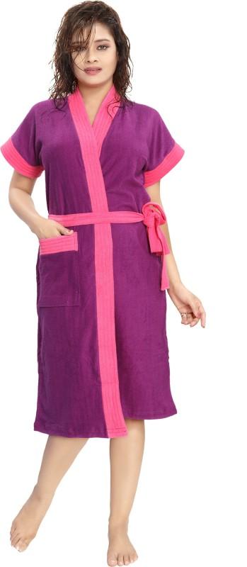 Glam World Purple, Pink Free Size Bath Robe(1 Bath Robe, For: Women, Purple, Pink)