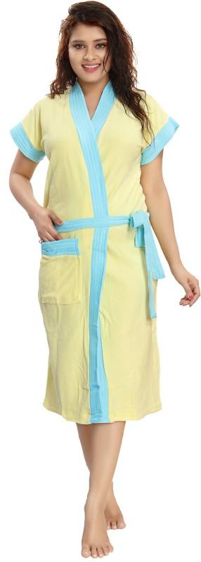 Glam World Yellow, Sky blue Free Size Bath Robe(1 Bath Robe, For: Women, Yellow, Sky blue)