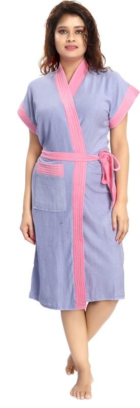 Rangmor Blue, Pink Free Size Bath Robe(1 Bath Robe, For: Women, Blue, Pink)