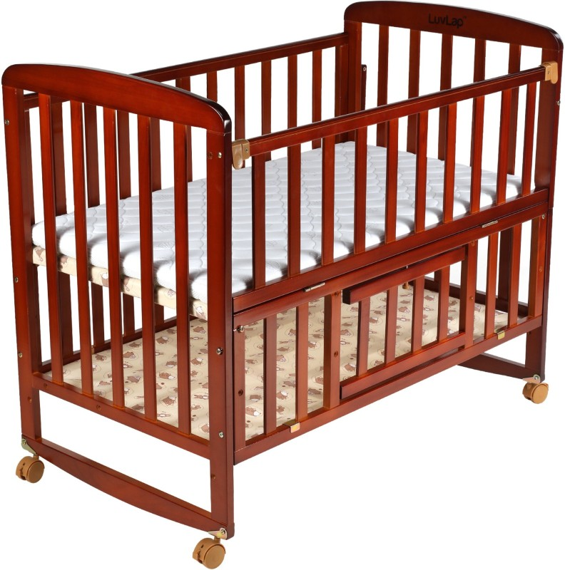 LuvLap Baby Wooden Cot(Cherry Red)