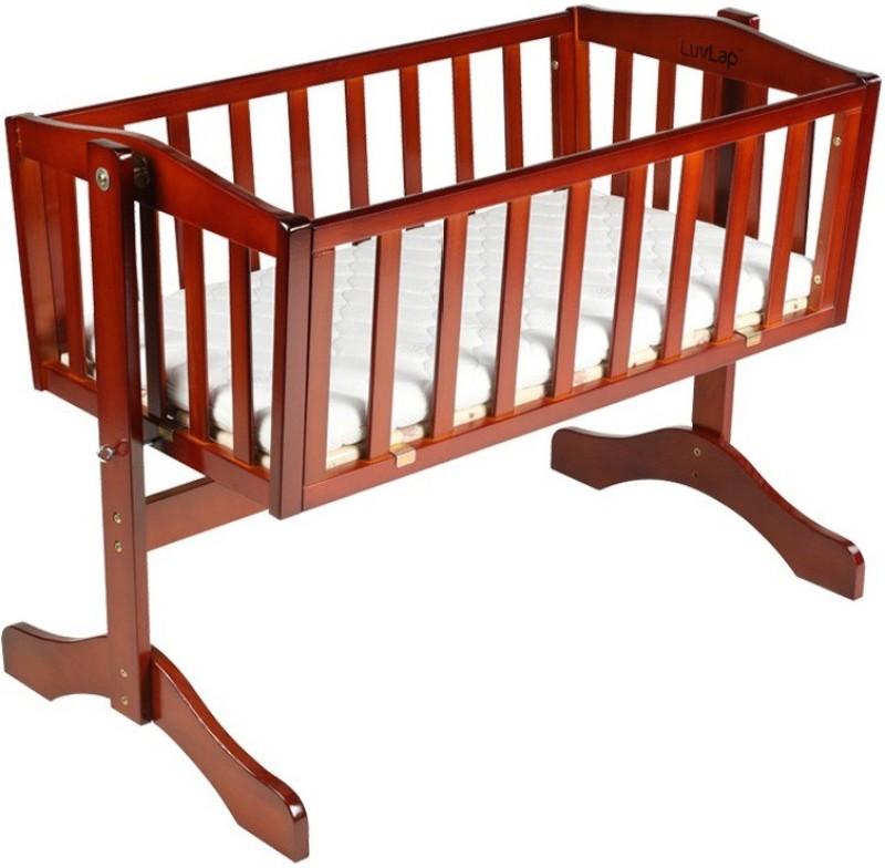 LuvLap Baby Wooden Cot Bassinet(Cherry Red)