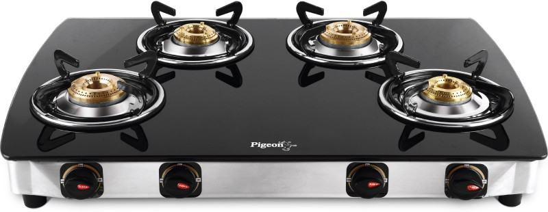 Pigeon Blackline Oval Glass Manual Gas Stove Steel, Glass Manual Gas Stove(4 Burners)