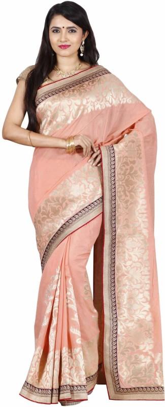The Chennai Silks Floral Print Patola Raw Silk Saree(Pink)