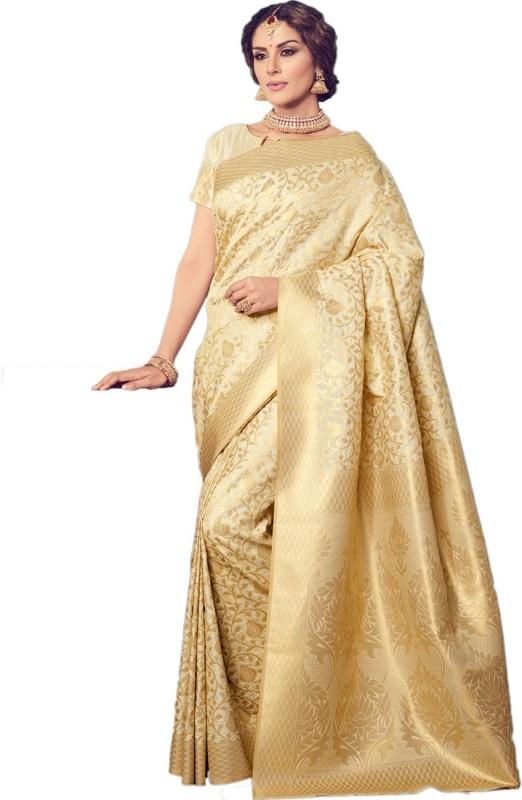 Salwar Kameez Woven Kanjivaram Silk Wool Blend Saree(Gold)