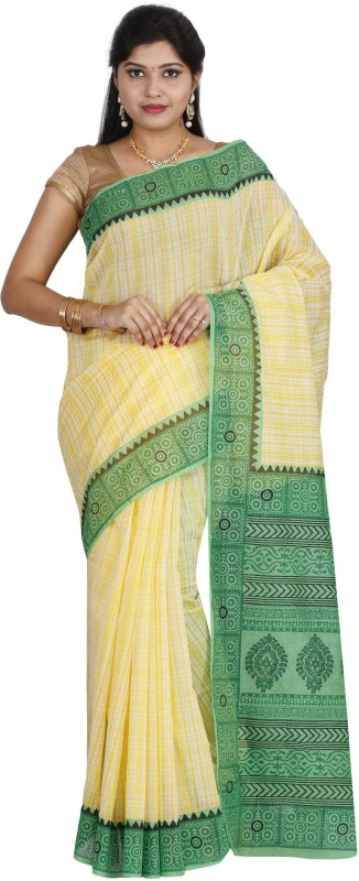 The Chennai Silks Striped Chanderi Cotton Saree(Yellow)