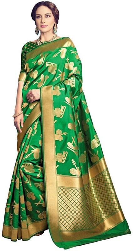 Salwar Kameez Printed Kanjivaram Silk Wool Blend Saree(Green)