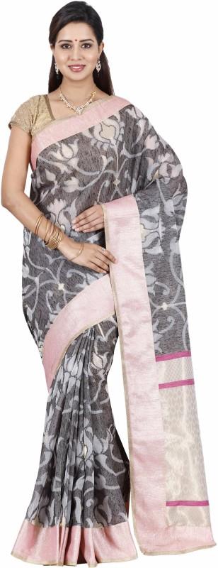 The Chennai Silks Floral Print Patola Raw Silk Saree(Grey)
