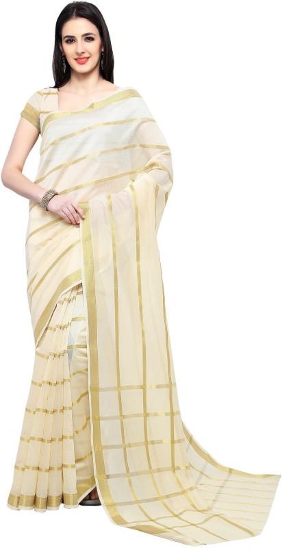 TRUNDZ Striped Banarasi Handloom Silk Cotton Blend Saree(Beige)