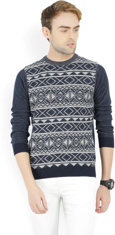 Wrangler Self Design Round Neck Casual Mens Dark Blue Sweater