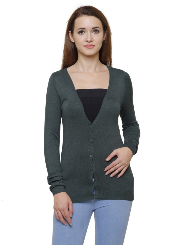 MansiCollections Womens Button Solid Cardigan