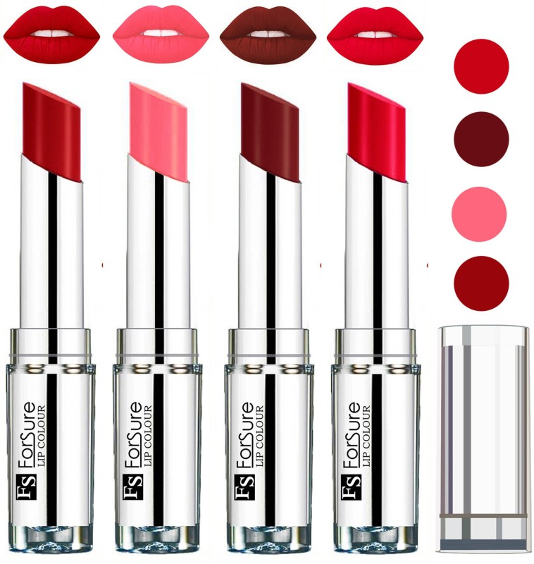 Forsure Wine,Ruby Red,Sweet Red,Peach VELVET MATTE LIPSTICK(Wine,Ruby Red,Sweet Red,Peach, 16 g)