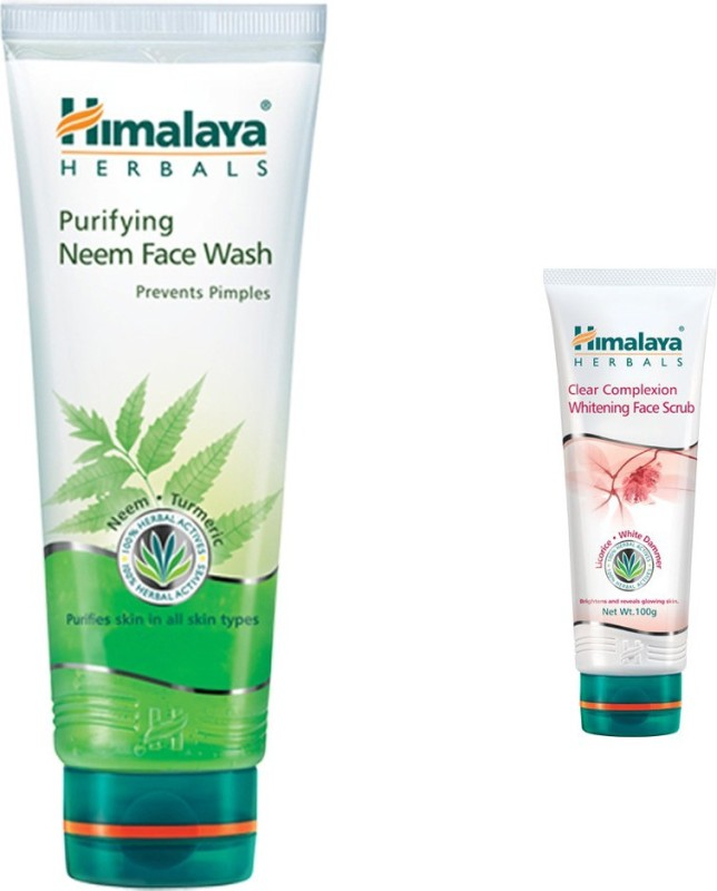 Himalaya Purifying Neem Face Wash, Clear Complexion Whitening Face Scrub(Set of 2)