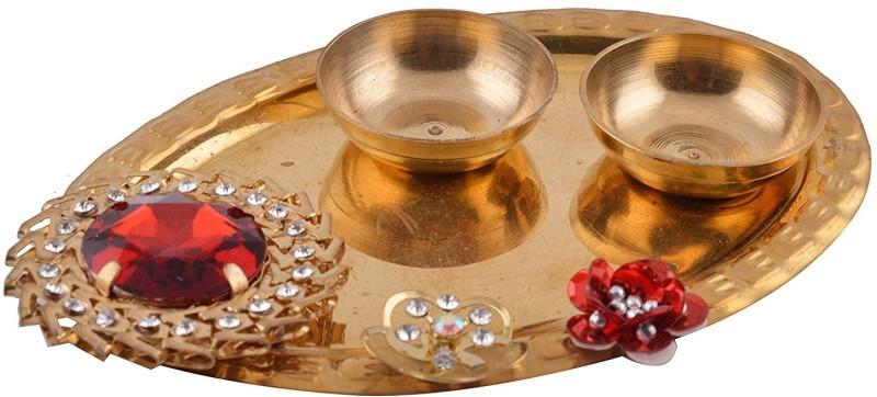 aads Tilak Plate Brass Pooja & Thali Set(1 Pieces, Gold)
