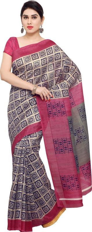 Livie Geometric Print Fashion Silk Saree(Beige)