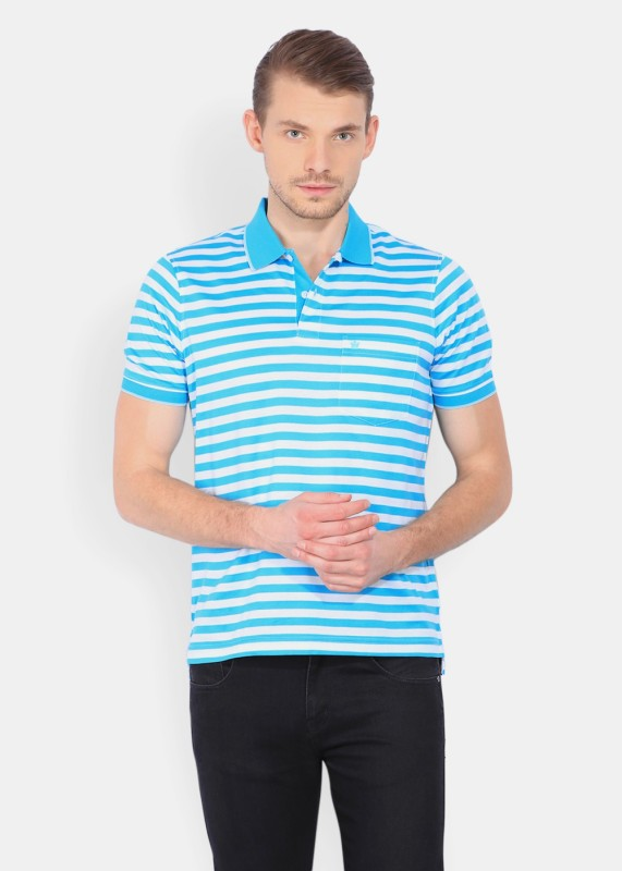 Louis Philippe Striped Mens Polo Neck Light Blue T-Shirt