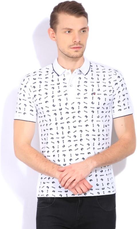 LP Louis Philippe Printed Mens Polo Neck White T-Shirt