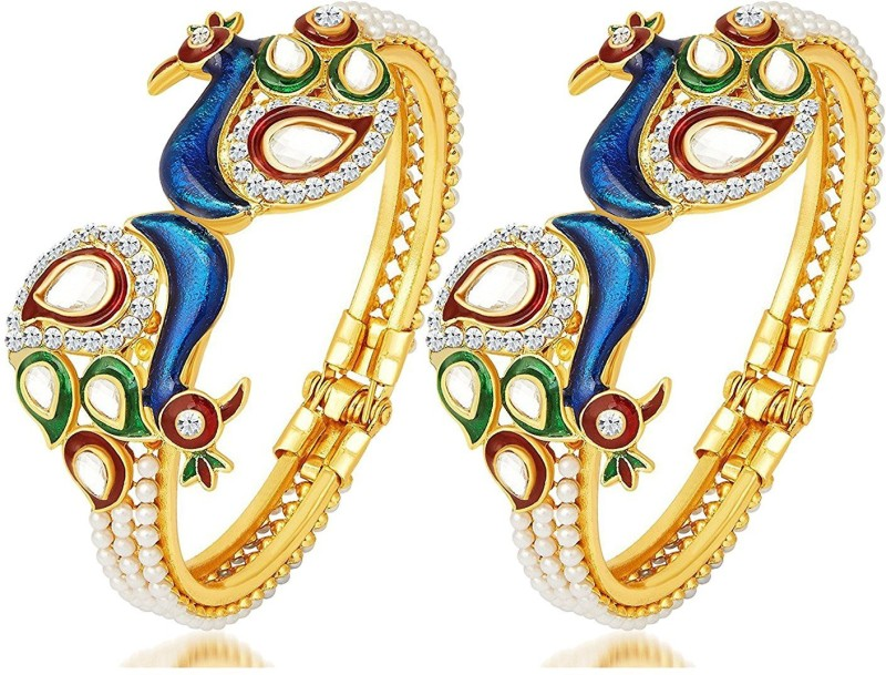 You Bella Alloy Gold-plated Bangle Set(Pack of 2)