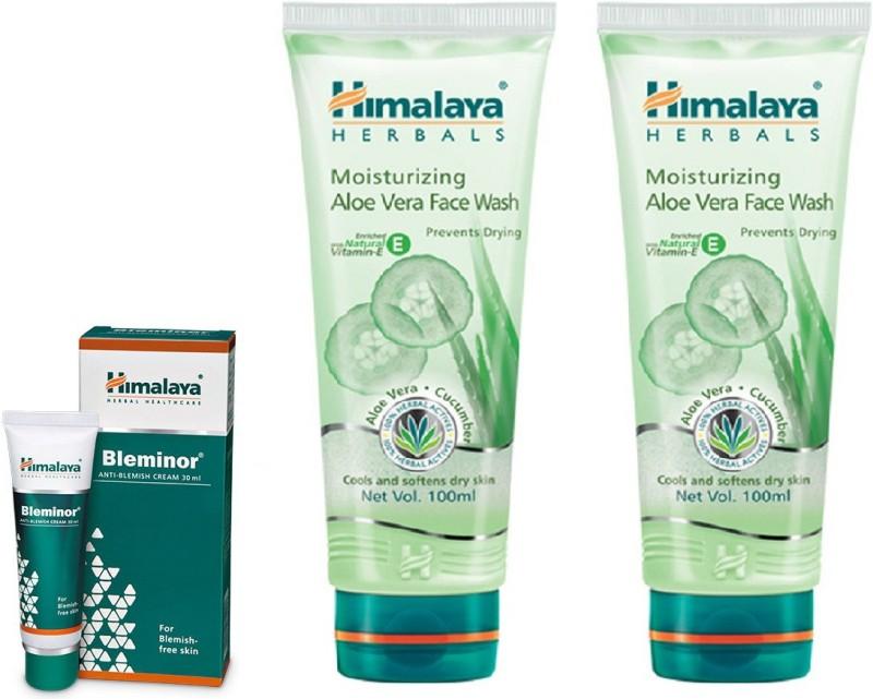 Himalaya Moisturizing Aloe Vera Face Wash, Bleminor Anti Blemish Cream, Moisturizing Aloe Vera Face Wash(Set of 3)