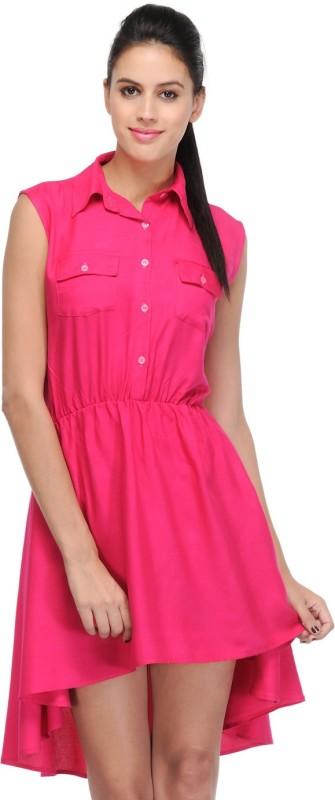 Klick2Style Women's High Low Pink Dress