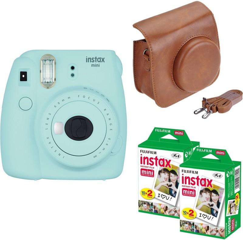 Fujifilm Mini 9 Ice Blue with Brown Case 40 Shots Instant Camera(Blue) Ice Blue with Brown Case 40 Shots