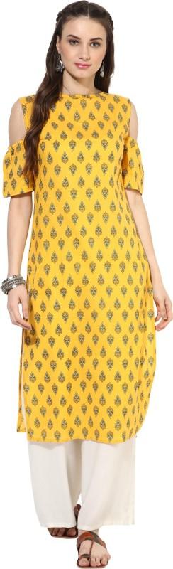 Nayo Women's Printed Straight Kurta(Yellow)