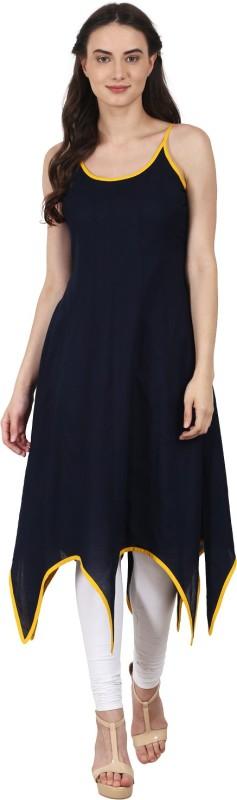 Nayo Women's Solid A-line Kurta(Dark Blue)