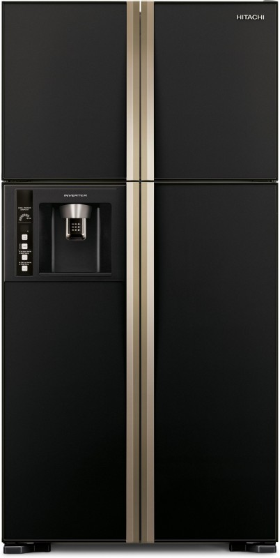 Hitachi 638 L Frost Free Side by Side Refrigerator(Glass Black,...