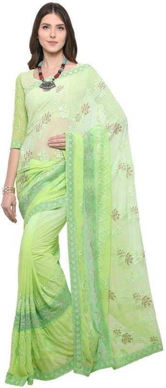 EthnicJunction Applique Lucknow Chikankari Chiffon Saree(Green)