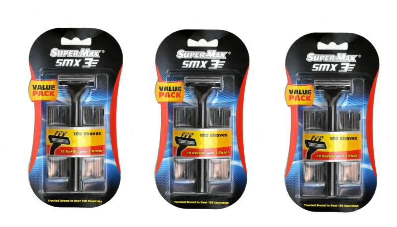 Super Max SuperMax SMX3 Razor Set ( 3 Razors, 30 catridges)(Pack of 3)