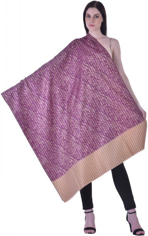 Christys Collection Polyester Wool Blend Printed Womens Shawl(Purple)