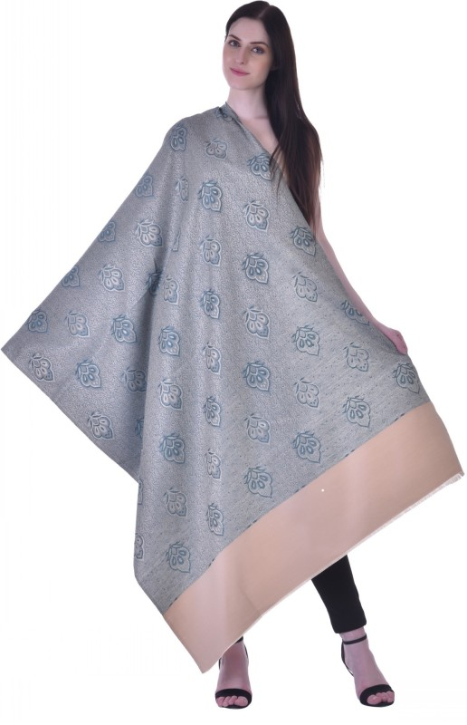 Christys Collection Polyester Wool Blend Printed Womens Shawl(Silver)
