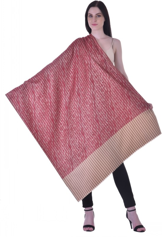 Christys Collection Polyester Wool Blend Printed Womens Shawl(Red)