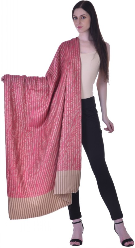 Christys Collection Polyester Wool Blend Printed Womens Shawl(Pink)