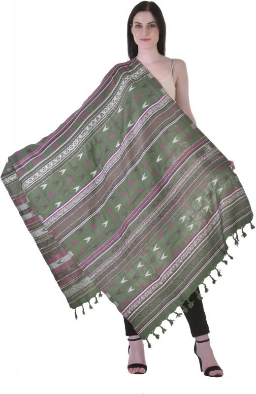 Christys Collection Polyester Wool Blend Printed Womens Shawl(Green)