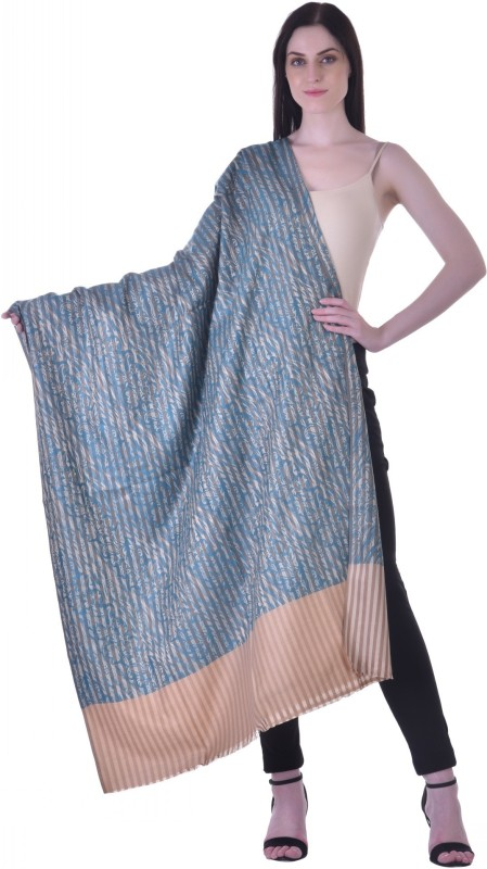 Christys Collection Polyester Wool Blend Printed Womens Shawl(Blue)