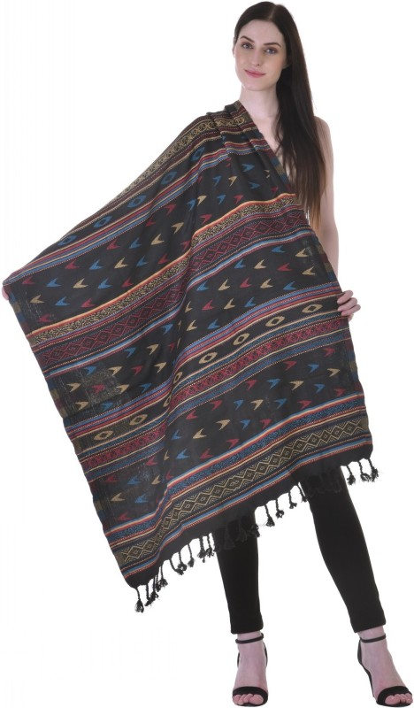 Christys Collection Polyester Wool Blend Printed Womens Shawl(Black)