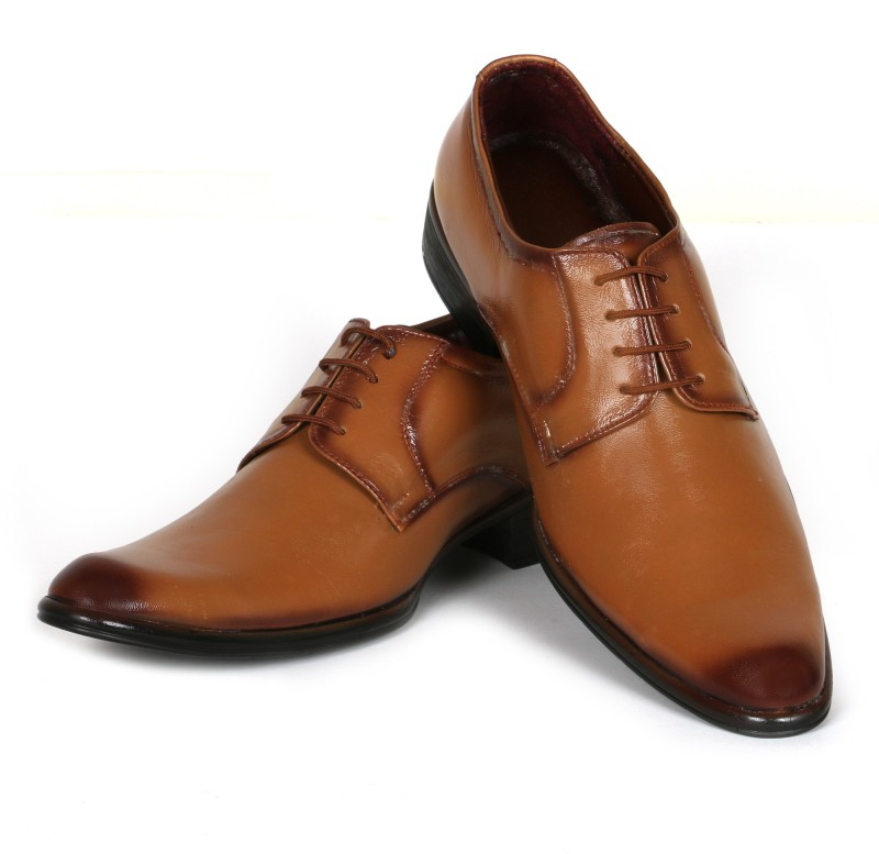 C Comfort Genuine Leather Shoes Tan Derby For Men(Tan)