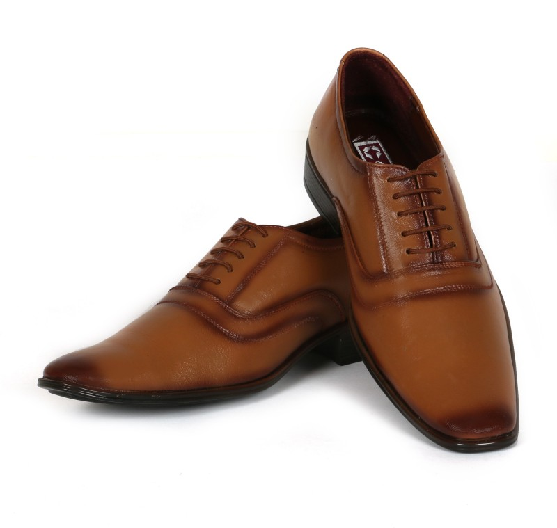 C Comfort Genuine Leather Shoes Tan Lace Up For Men(Tan)